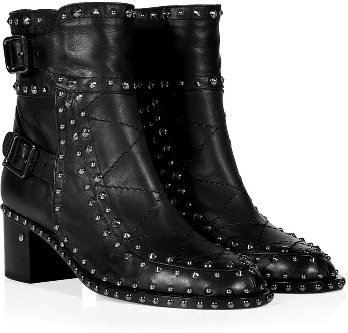 Laurence Dacade Leather Studded Booties in Black