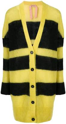 No.21 striped oversized cardigan