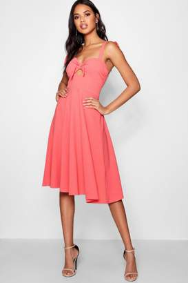 45beae6cd5f80 Free Returns at boohoo · boohoo Boutique Tie Detail Midi Skater Dress