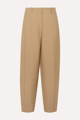 Victoria Beckham Cotton-blend Canvas Tapered Pants - Taupe