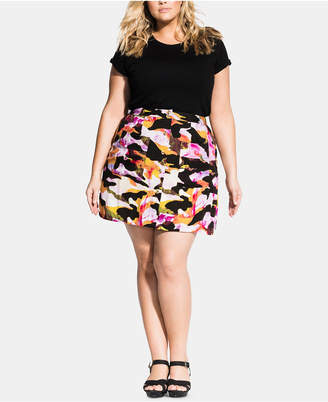City Chic Plus Size Girly Camo Skirt