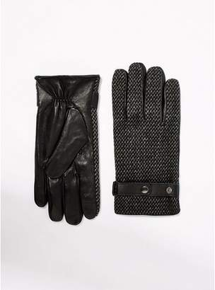 Topman Mens Grey and Black Herringbone Gloves