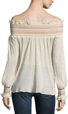 Love Sam Off-the-Shoulder Embroidered Blouse