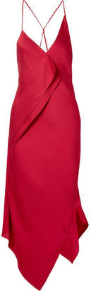 Roland Mouret Jimboy Asymmetric Hammered Silk-satin Midi Dress - Claret