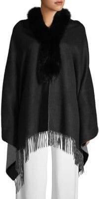 La Fiorentina Two-Tone Dyed Fox Fur-Trimmed Wool Shawl