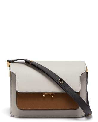 Marni Trunk Medium Leather Shoulder Bag - Womens - Grey Multi