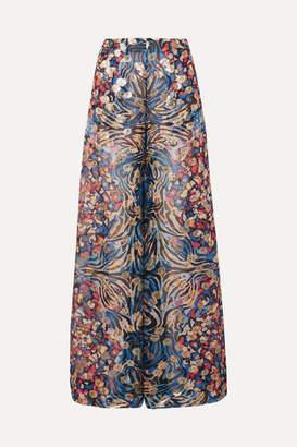 Dundas Metallic Fil Coupé Silk-blend Chiffon Wide-leg Pants - Cobalt blue