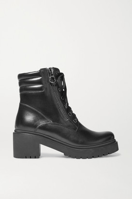 Moncler Viviane Leather Ankle Boots - Black