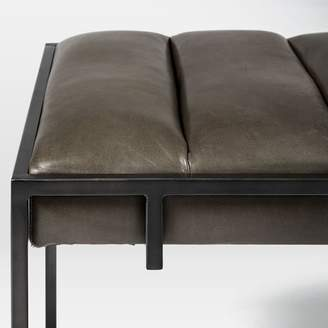 west elm Fontanne Leather Ottoman - Square