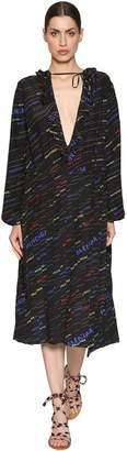 Balenciaga Logo Printed Ruffled Silk Crepe Dress