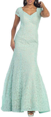 Asstd National Brand Sexy Exposed Back Cap Sleeve Evening Gown