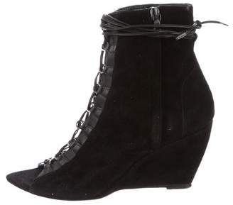 Narciso Rodriguez Wedge Lace-Tie Booties