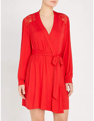 Eberjey Noor jersey and lace robe