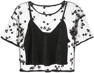 Josie Natori embroidered mesh top