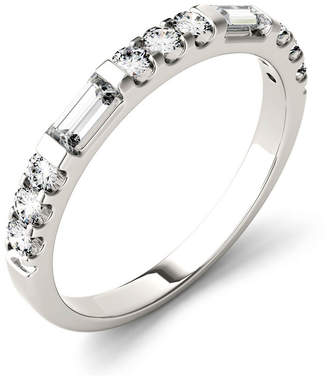 Charles & Colvard Moissanite Round and Baguette Stackable Ring (1/2 ct. tw.) in 14k White Gold
