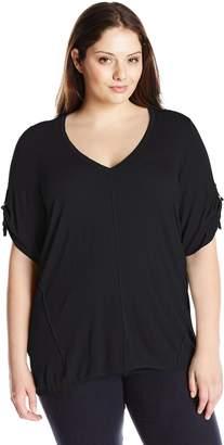 Calvin Klein Women's Plus-Size s/V-Neck Slub Sweater