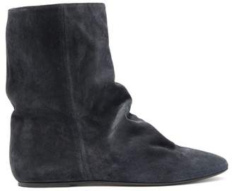 Isabel Marant Rullee Slouched Suede Ankle Boots - Womens - Black