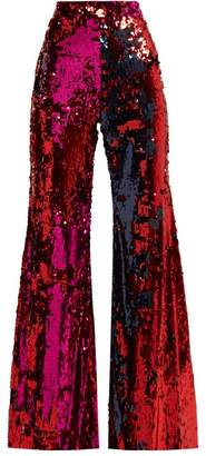 Halpern - Sequined Flared Trousers - Womens - Fuchsia
