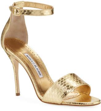 Manolo Blahnik Tres Snake d'Orsay Sandals