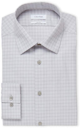 Calvin Klein Metal Grey Check Slim Fit Dress Shirt