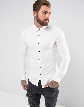Asos Muscle Viscose Shirt In White With Contrast Buttons