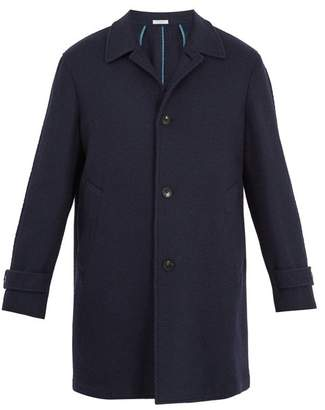 Boglioli Point-collar basket-weave wool-blend overcoat