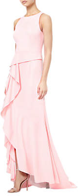Adrianna Papell Crepe Cascading Gown, Pale Shell