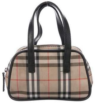 Burberry Leather-Trimmed Nova Check Handle Bag