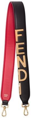 Fendi black Logo detail leather bag strap