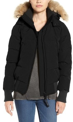 Women's Canada Goose 'Savona' Bomber Jacket With Genuine Coyote Fur Trim $850 thestylecure.com