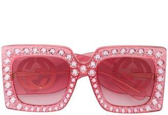 e9df83f6e30 Gucci Hollywood Forever crystal embellished oversized sunglasses