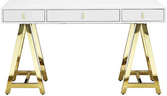 One Kings Lane Gold Riley Desk - White
