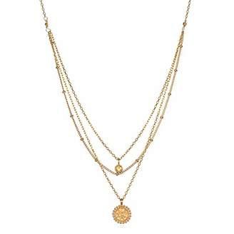 Satya Jewelry Women's Citrine Gold Mandala Faux Triple Chain Pendant Necklace 18-Inch