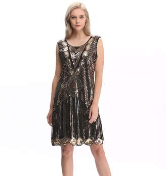 f962a988af317 Co Pilot-trade clothing trade Pilot-Trade Women s 1920s Gatsby Sequin Art  Deco Scalloped