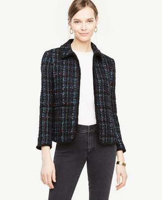 Ann Taylor Tweed Fringe Jacket