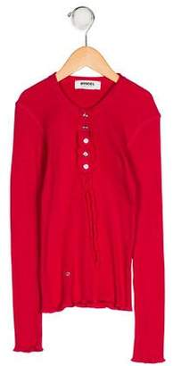 Sonia Rykiel Girls' Rib Knit Long Sleeve Top