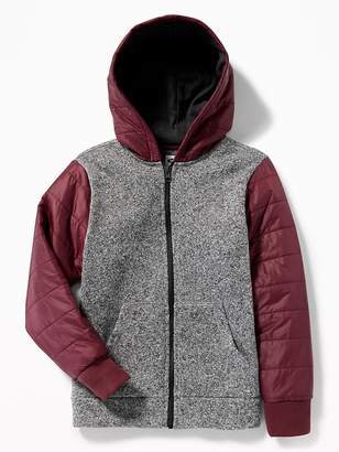 Old Navy Sweater-Fleece/Quilted Fusion Zip Hoodie for Boys
