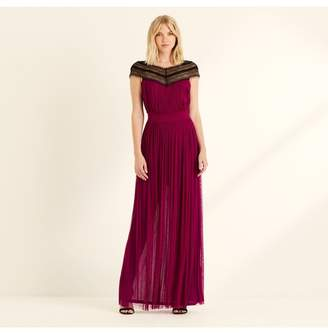 Amanda Wakeley Magenta Silk Tulle Lace Maxi Dress