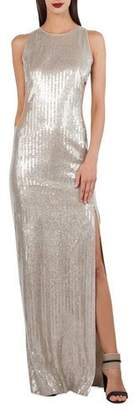 Akris Sleeveless Sequined V-Back Gown