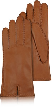 58d54fea187b Forzieri Women s Cashmere Lined Brown Italian Leather Gloves