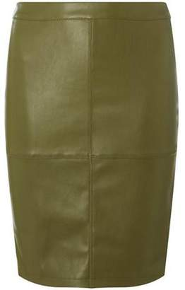 Dorothy Perkins Womens **Vila Khaki Faux-Leather Skirt