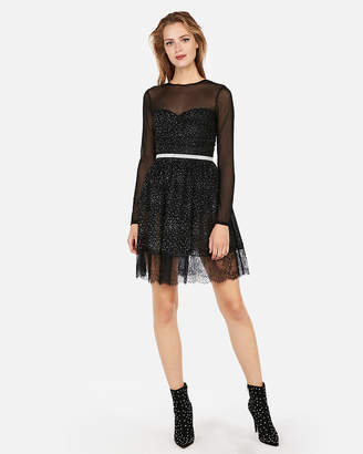 Express Edition Crystal Mesh Fit And Flare Dress