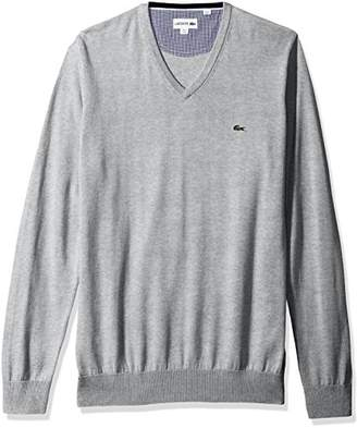 Lacoste Men's V Neck Cotton Jersey Sweater with Green Croc