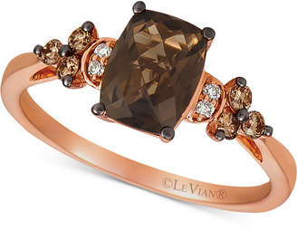 LeVian Le Vian Chocolate Quartz (1-1/4 ct. t.w.) & Vanilla and Chocolate Diamond (1/6 ct. t.w.) Ring in 14k Rose Gold