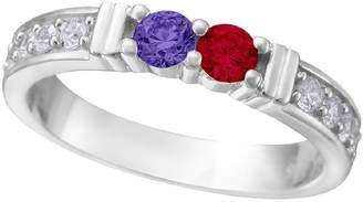 Nana Shared Prong w/side stones Couples 2 stones Ring with His & Hers s Silver- Platinum Plated - Size 9