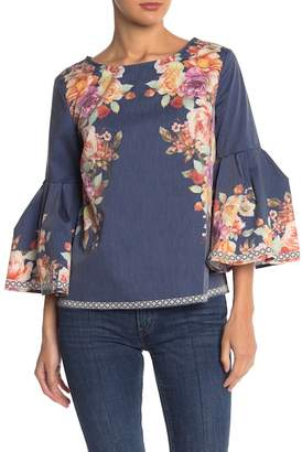 Flying Tomato Floral 3\u002F4 Bell Sleeve Blouse