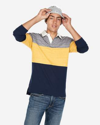 Express Pieced Stretch Jersey Long Sleeve Polo