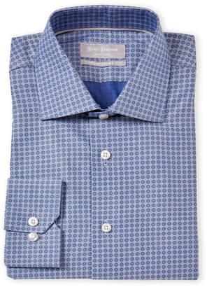 Hickey Freeman Contemporary Fit Tile Print Dress Shirt