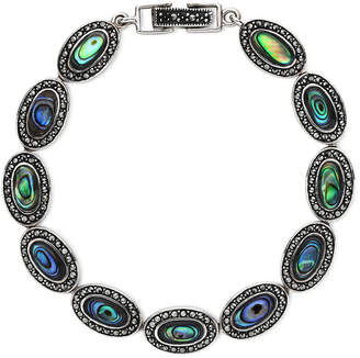JCPenney FINE JEWELRY Marcasite and Abalone Shell Link Bracelet