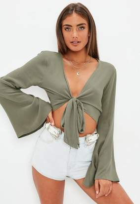 Missguided Khaki Tie Front Flare Sleeve Crop Top
